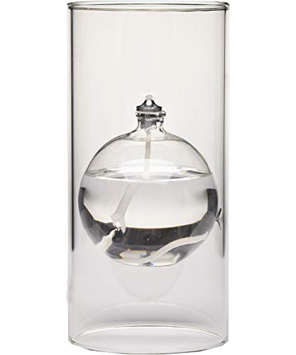 Firefly Modern Transcend Clear Glass Oil Lamp is a Unique Gift for Women and Men. The Bliss Oil Candle Appears to be Floating in The Hurricane Candle Holder.