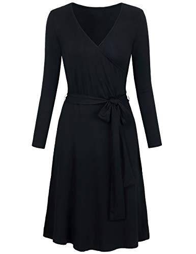 SUNGLORY Dresses for Women Party, Women's Long Sleeve Knee Length Print Self-Tie Faux Wrap Dress Black XXL - Wrap Look Print Dress