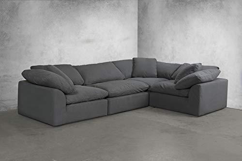 Sunset Trading SU-1458-94-3C-1A Cloud Puff 4 Piece Modular Performance Gray Sectional Slipcovered Sofa, Grey