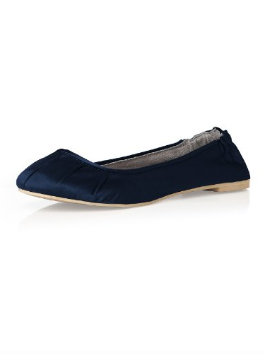 Matte Satin Rhinestone Shoe (Women's Matte Satin Ballet Flats with Pleated Toe Detail by Dessy - Midnight - Size 8)