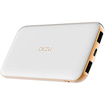 USB C Power Bank OKZU 10000mAh Compact Portable Charger Input & Output Type C External Battery Pack for Samsung, iPhone, Andriod Devices (White)(Type C Cable Not Included)