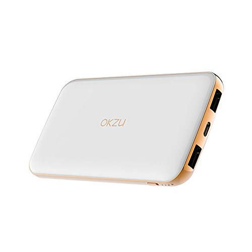 Power Bank, OKZU 10000mAh Thin, Lightweight Portable Charger, Compact External Battery Pack with USB Type-C Input & Output for iPhone, Samsung, Huawei and More Devices (White)