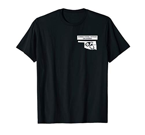 Oklahoma Correctional Officer Thin Silver Line Flag T-Shirt ()