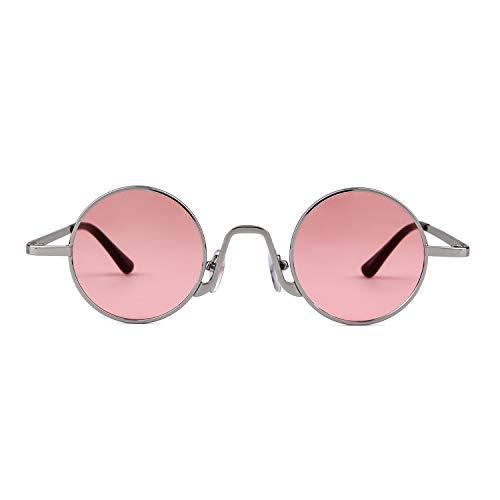 metal Mujeres con Vintage Plata Street Style ADEWU Lente de Gafas sol borde ovaladas de fino Rosa Redondo Marco Eyewear 1 Hombres F6wF8PxI