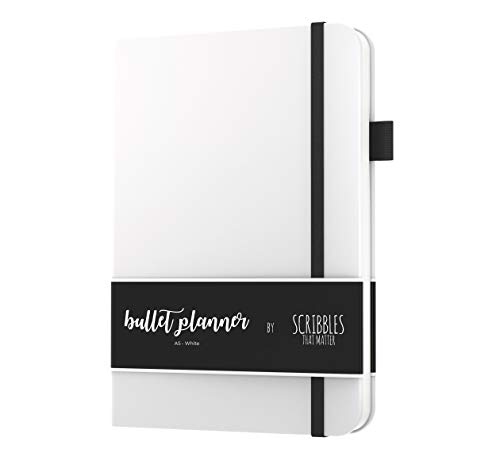 Bullet Planner A5 by Scribbles That Matter - 2019 - Pre-Printed Weekly, Monthly, Yearly Spreads - Habit Tracker - Get Your Life Organized and Productive Hassle Free (White)