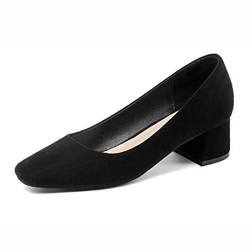 hauts Chaussures Simples Femmes Noir Femme La Carrée Tête Bean Mi À Bouche Red Peu Talons 40 Hwf Profonde couleur Taille wxEOn81rwq