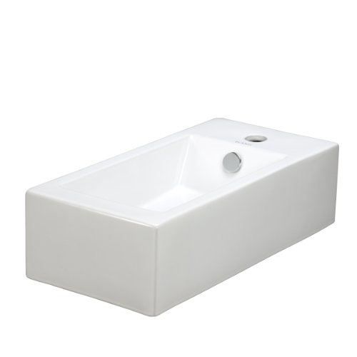Elite Sinks EC9899-L Porcelain Wall-Mounted Rectangle Left-Facing Sink, (White Porcelain Single Bowl)