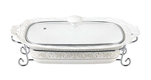 D'Lusso Designs Chic Design Fifteen Inch Rectangular Casserole With Metal Stand