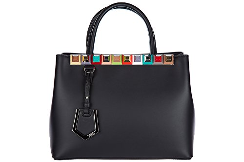 Fendi women's leather handbag shopping bag purse petite 2jours black Fendi Black Bag