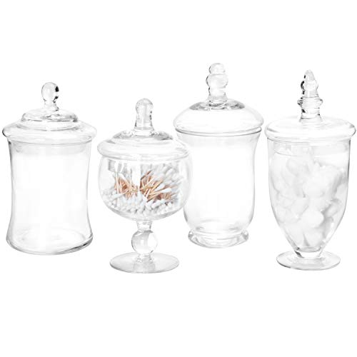 MyGift Set of 4 Clear Glass Apothecary Jars/Candy Buffet Containers with Lids