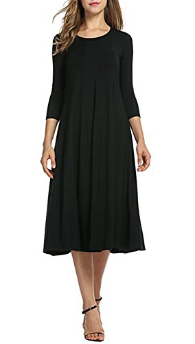 3 4 Sleeve Midi a Line Round Neck Swing Loose Wrap Around Casual Cocktail Dress For Women Black Large