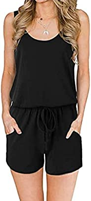 SHOWNO Womens Wide Leg Ruffle Fashion Belted Club Sleeveless Romper Jumpsuits