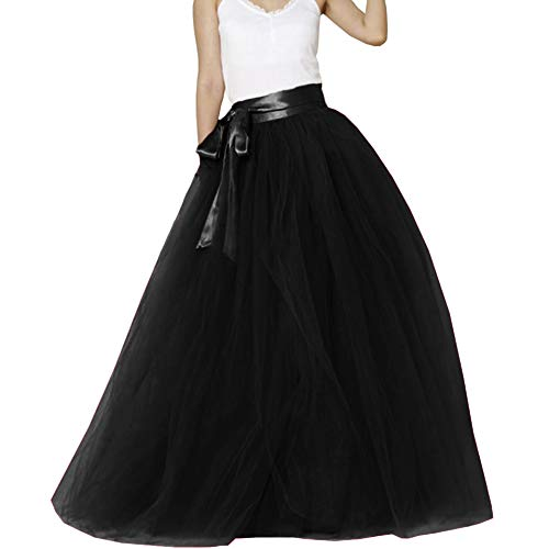 Lisong Women Floor Length Bowknot 5-Layered Tulle Party Evening Tutu Skirt 6 US Black]()