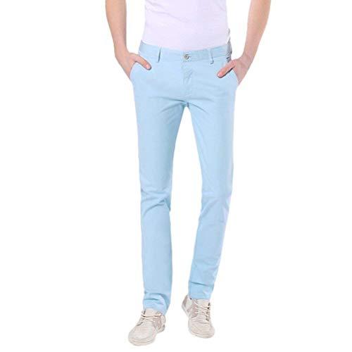 Pantalones Chinos De Los Hombres Pantalones Ajustados De Elástico Algodón Ropa Pierna Recta Color Sólido Transpirable Suave Pantalones Vaqueros De Estiramiento Rectos Elegantes Pantalones Casuales Sky Blue