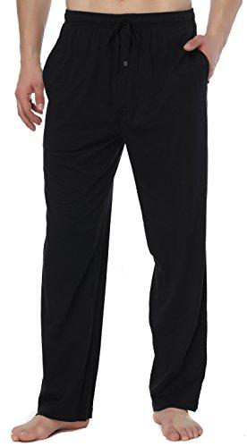 RENZER Men's Pajamas Pants 100% Knit Cotton Long Lounge Pants-Black XXXL -