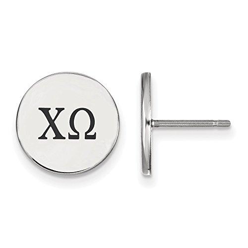 - Sterling Silver Rh-plated LogoArt Chi Omega Enameled Post Earrings