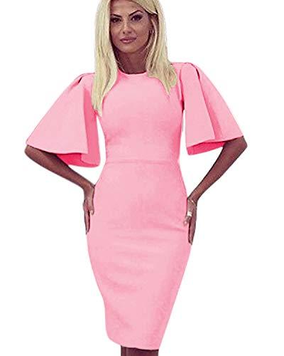 Zshujun 1950's Women's Vintage Stretchy Work Casual Bodycon Sheath Pencil Dress 1189 (Pink, XXXL)