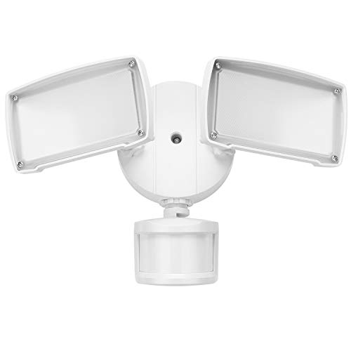 LEONLITE 2-Head Motion Activated LED Outdoor Security Light, Dusk to Dawn, Motion Sensor, ENERGY STAR UL-listed, 3000K Warm White, Exterior Floodlight for Entryways, Stairs, Yard