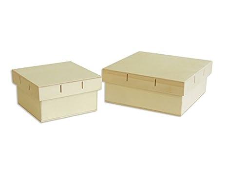 Cajas cuadradas madera. Juego de 2 unidades. Tapa para cinta. En crudo, para pintar. Manualidades y decoración: Amazon.es: Hogar