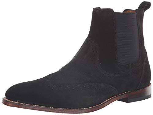 STACY ADAMS Men's M2 Wingtip Suede Chelsea Boot, Black, 10 D US