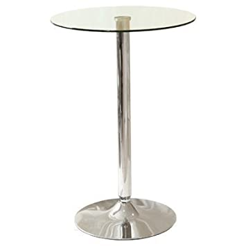 The Look Poseur Table Haut En Verre 90 Cm De Hauteur X 60