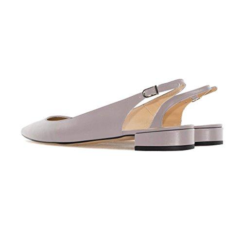 Con 1 Soireelady Cinturino Toe Pointed Scarpe donna 2CM Sandali Slingback Pumps da Grigio Tacco Caviglia Alla a Blocco IwCqwa1