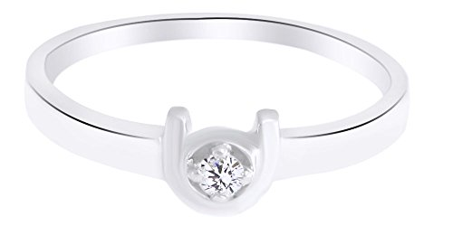 White Natural Diamond Accent Horseshoe Style Lucky Ring inWhite Gold Over Sterling Silver (0.04 Cttw) Ring Size-10