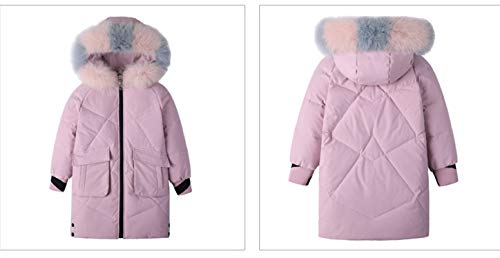 Ecollection Girls Down Coat with Fur Hood Thicker Winter Down Long Jacket