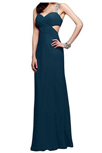 Toscana novia abendmode rueckenfrei vestidos de noche de gasa largo vestido de fiesta duro partido de la bola Tinte Blau