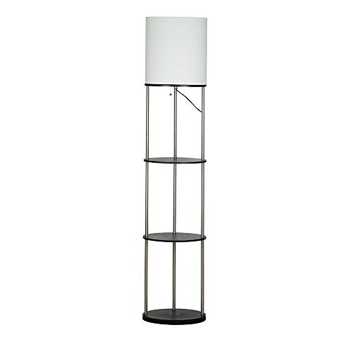 Catalina Lighting 21536-000 Transitional Tall Metal & Wood Oval Étagère Floor Lamp with Shelves, 63