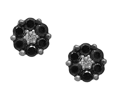 AFJewels 10k 0.77 ct Black Diamond Cluster Unisex Hip Hop Stud Earrings Twist on Backs ()