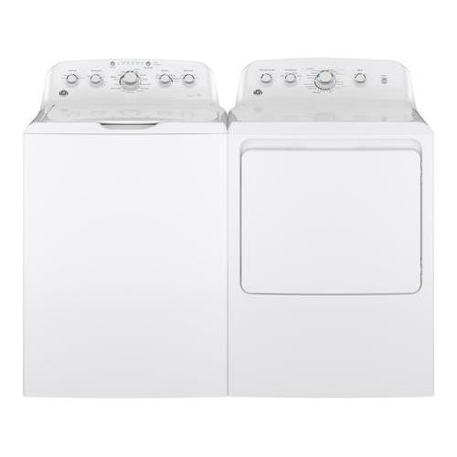 White Top Load Laundry Pair with GTW460ASJWW 27 Washer and GTD42GASJWW 27 Gas Dryer