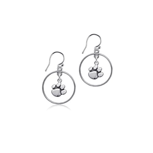 Clemson University Tigers Sterling Silver Jewelry by Dayna Designs (Open Drop Earrings) - Logo Sterling Necklace Silver