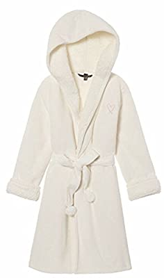 Victoria's Secret Cozy Hooded Sherpa-Lined Plush Robe, Ivory