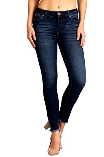 - Celebrity Pink Women's Mid Rise Ankle Frayed Hem Skinny Jeans 11 Tiana CJ22033O5