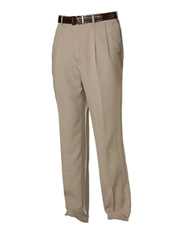 Savane Men's Comfort Waist Microfiber Performance Dress Pants (34W X 29L, Khaki) -
