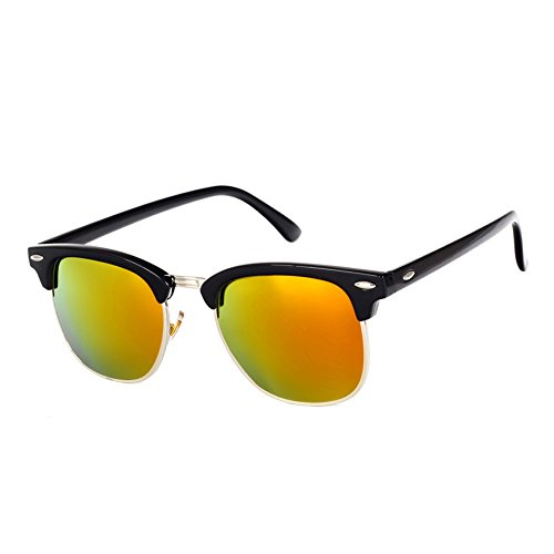 Pro Acme Classic Semi Rimless Polarized Clubmaster Sunglasses with Metal Rivets (Black/Red, As - Mirrored Sunglasses Clubmaster