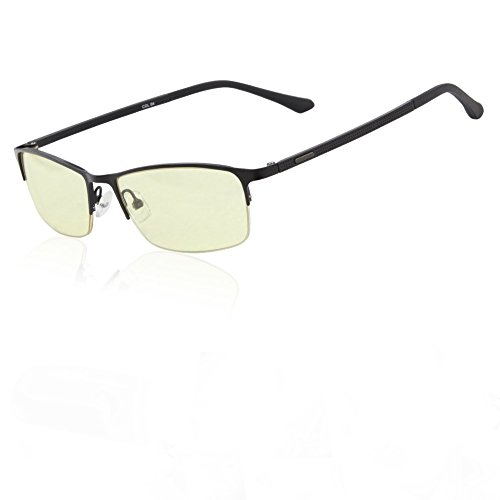 DUCO Optiks Semi Rimless Video Computer Gaming Glasses with Amber Lens Tint 7528