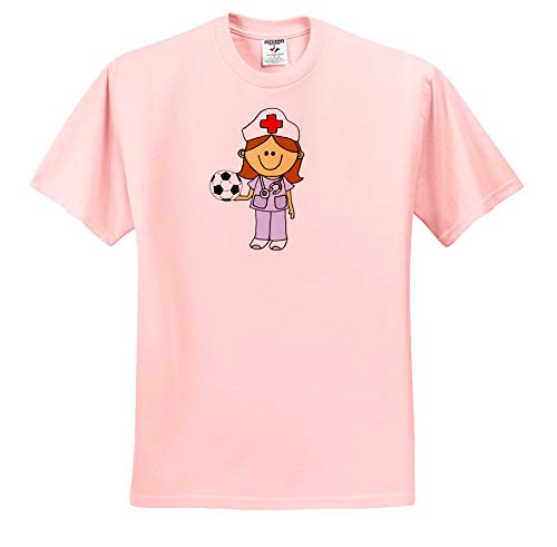 37241130 All Smiles Art - Jobs - Cool Funny Nurse Playing Soccer or Football Cartoon  - T