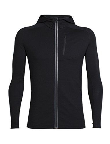 Icebreaker Merino Men's Mens Quantum Ls Zip Hood, Black, XL