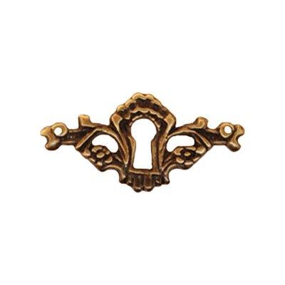 Brass Keyhole Plate - E-37AB ANTIQUE FINISH CAST BRASS KEYHOLE ESCUTCHEON + FREE BONUS (SKELETON KEY BADGE)