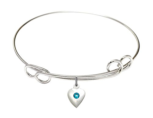 Rhodium Plate Double Loop Bangle Bracelet with December Birth Month Petite Heart Charm, 8 (8 Inch Birth Plate)