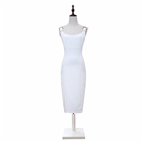 Benzhi Elegant Summer Strap Dress New Solid Stylish Black / White Casual Work sleeveless Pack hip Women Formal Pencil Dresses white XL