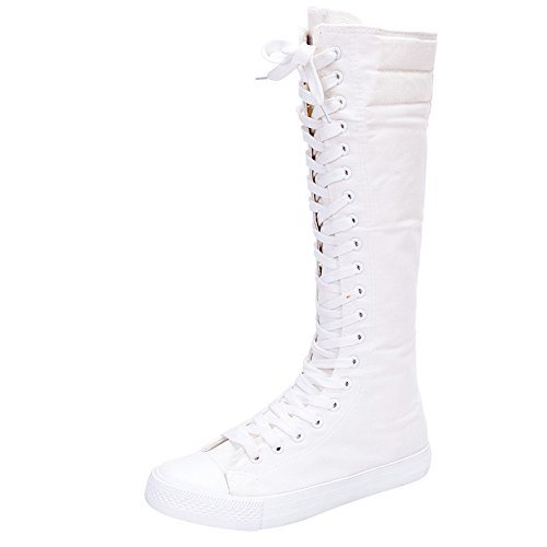 rismart Girls Women Fashion Knee High Lace-Up Canvas Boots Pure White Zip Dance Boots 801 US8 ()