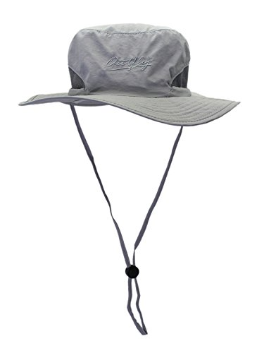 Cowboy Protection Sun (Panegy Summer UPF 50+ Hats Bora Jungle Sun Protection Cowboy Boonie Sun Caps with Adjustable Chin Cord Solid Light Gray)