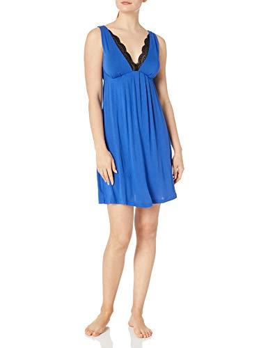 Amazon Brand - Arabella Women's Chemise with Lace Neckline, Cobalt, Small