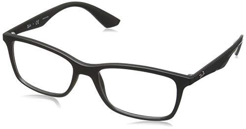 Ray-Ban Men's 0rx7047 No Polarization Rectangular Prescription Eyewear Frame, Matte Black, 56 mm
