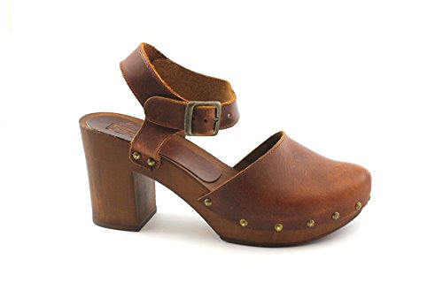 Follie Clog Heel 264 Plateau Leather Divine Sandals Marrone Woman Z1dOOwq