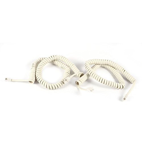 2 Pcs 10ft RJ9 4P4C Enroulé Stretchy Téléphone Combinés Câble Off White DealMux DLM-B00MJU1OZ4