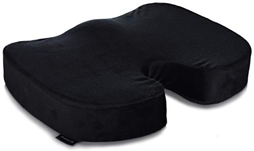 Memory Foam Seat Cushion - Comfort Orthopedic Design to Relieve Sciatica, Coccyx and Tailbone Back Pain. Conforms to Body Shape and Promotes Healthy Posture. Perfect Gel Cushion for Office Desk Chair.